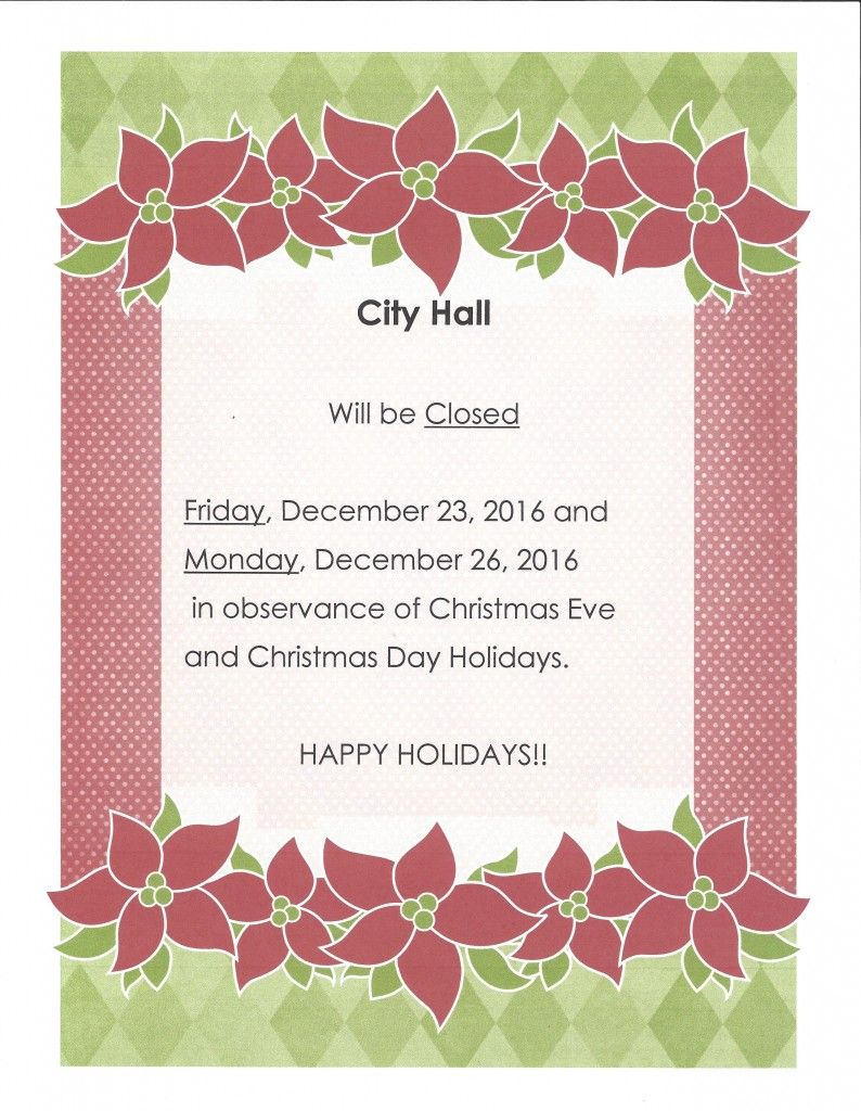 City Hall Holiday Hours